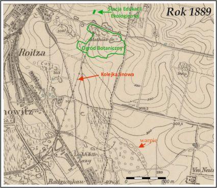 Fragment mapy z 1889 (Messtischblatter 1:25 000, arkusz Bytom)